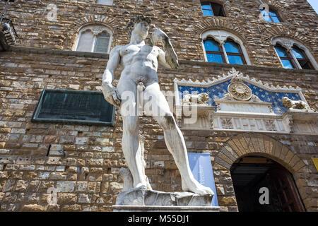 FLORENCE (FIRENZE), JULY 28, 2017 - Copy of  David of Donatello statue in Piazza della Signoria outside Palazzo - Stock Photo