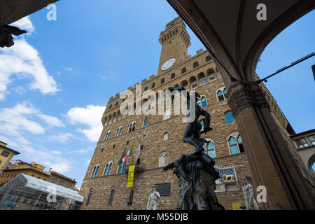 FLORENCE (FIRENZE), JULY 28, 2017 - View of  Palazzo Vecchio in Florence, Tuscany, Italy - Stock Photo