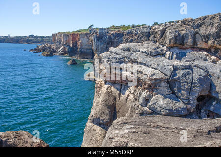 Hell's Mouth (Boca do Inferno),  the seaside cliffs close to the Portuguese city of Cascais, in the District of - Stock Photo