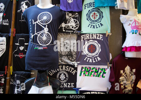 FLORENCE (FIRENZE) JULY 28, 2017 - T- Shirt on sale at the market in the city of Florence (Firenze), Tuscany, Italy. - Stock Photo
