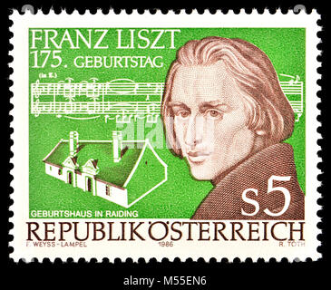 Austrian postage stamp (1986) : Franz Liszt (1811 – 1886) 19th-century Hungarian composer, virtuoso pianist and - Stock Photo
