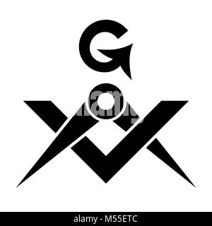 Masonic Square and Compasses (Sacral Emblem of Secret fraternity) - Stock Photo