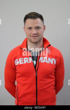 Magdeburg, Germany - February 20,2018: Portrait photo of Toni Eggert, German luge athlete. He won the bronze medal - Stock Photo