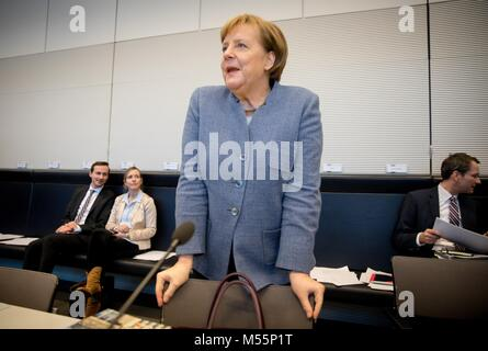 Berlin, Germany. 20th February, 2018. German Chancellor Angela Merkel of the Christian Democratic Union party (CDU) - Stock Photo