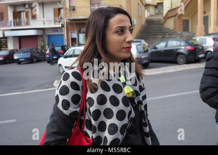 Rossano, Elisa Scutella ', candidate for the Chamber of Deputies for the 5 Star Movement for the general elections - Stock Photo