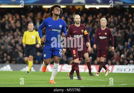 London, UK. 20th Feb, 2018. Willian of Chelsea during the UEFA Champions League Round of 16 first leg match between - Stock Photo