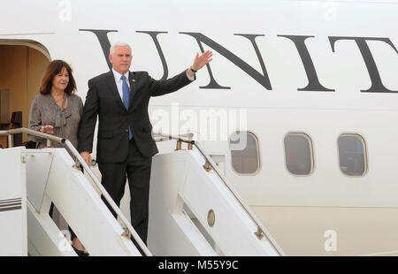 Kennedy Space Center, Florida, United States. February 20, 2018 -  -  U.S. Vice President Mike Pence and his wife, - Stock Photo
