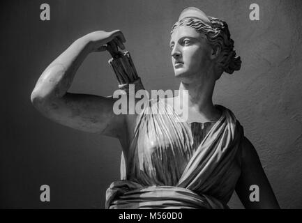 Classic white marble statuette Diana of Versailles. - Stock Photo