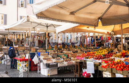 Rome, Italy, february 18, 2017: fruits and vegetables on sale in the public market of Campo de Fiori, Rome, Italy - Stock Photo
