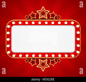 Retro banner with stars on red background. 3D rendering - Stock Photo
