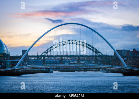 Newcastle upon Tyne UK, view at dusk of the five bridges spanning the River Tyne in the centre of Newcastle, Tyne - Stock Photo