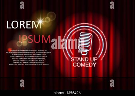 Stand up comedy with neon microphone sign and red curtain backdrop. Comedy night stand up show or karaoke party. - Stock Photo