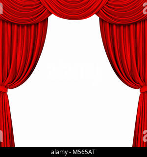 Red curtain on white background. 3D rendering - Stock Photo