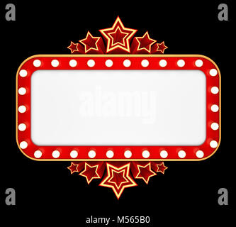 Retro banner with stars isolated on black background. 3D rendering - Stock Photo