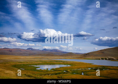 Unforested mountain valley in Western Mongolia Altay Mountains at summer - Stock Photo
