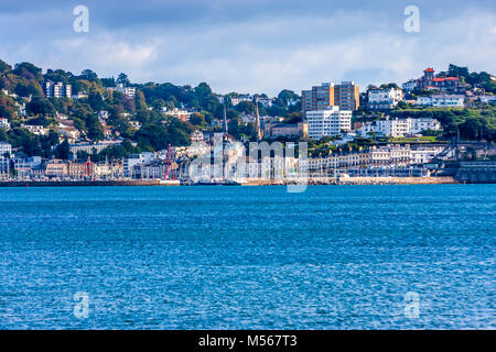 A view across the bay at Brixham in South Devon, UK. - Stock Photo