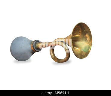 Vintage car horn or klaxon isolated on white background - Stock Photo