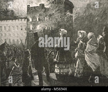 Windsor Castle fire, 9 March 1853, Prince of Wales's Tower, Berkshire, England - Stock Photo