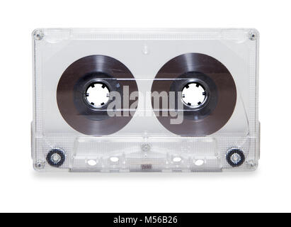 vintage transparent audio cassette tape isolated over white - Stock Photo