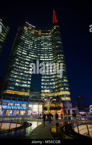 Milan, December 24, 2015 -  Iconic skyscraper 'Unicredit Tower'in the modern area of Milan near Garibaldi railway - Stock Photo