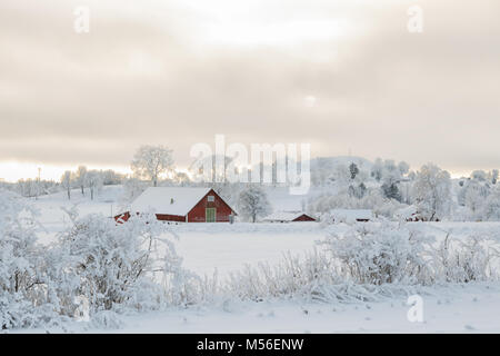 Farmhouse in an idyllic winter landscape with snow and frost - Stock Photo