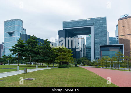 Hong Kong January 29, 2016: The Central Government Complex of Hong Kong in Tamar which houses the headquarters government - Stock Photo