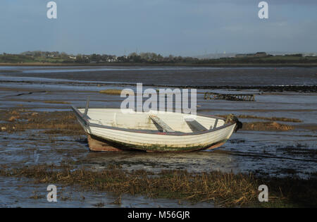 View from Sunderland Point at low tide over the River Lune, Morecambe, Lancashire, United Kingdom - Stock Photo