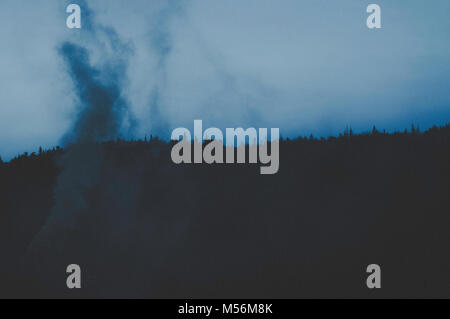 Mystical night scene with smoke and forest line. - Stock Photo