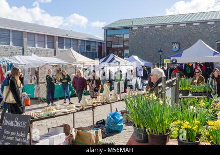 The Saturday market in the market square in the Devon town of Totnes - Stock Photo