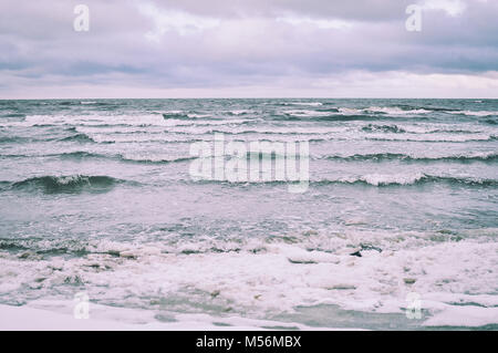 Baltic Sea in winter. Windy weather and waves. - Stock Photo