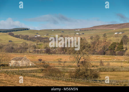North Pennines Landscape. View looking north west over Teesdale into Ettersgill from Holwick on a fine winter morning - Stock Photo