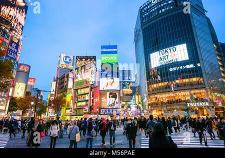 Shibuya Crossing Tokyo Japan Hachiko Square - Stock Photo
