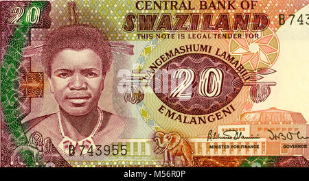 Swaziland Twenty 20 lilangeni Bank Note - Stock Photo