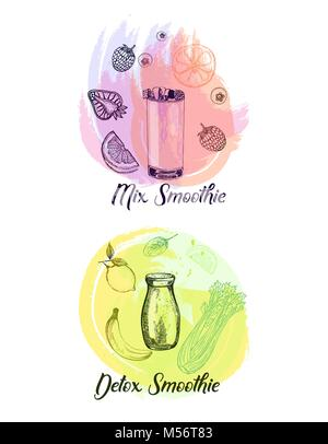 Set of hand drawn sketch style smoothie with fruits and vegetables. Isolated vector illustration. - Stock Photo