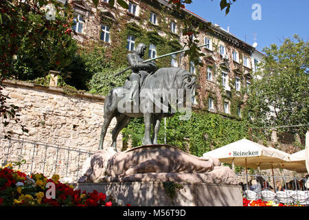 CROATIA ZAGREB, 1 OCTOBER 2017: St. George after the battle with the Dragon, sculpture, Zagreb, Croatia - Stock Photo