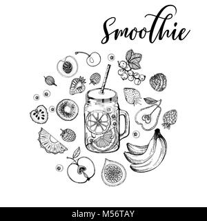 Set of hand drawn sketch style smoothie with fruits. Isolated vector illustration. - Stock Photo