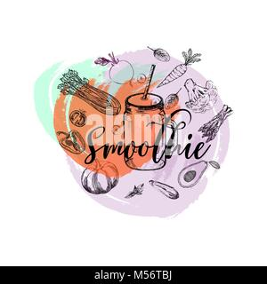 Set of hand drawn sketch style smoothie with vegetables. Isolated vector illustration. - Stock Photo