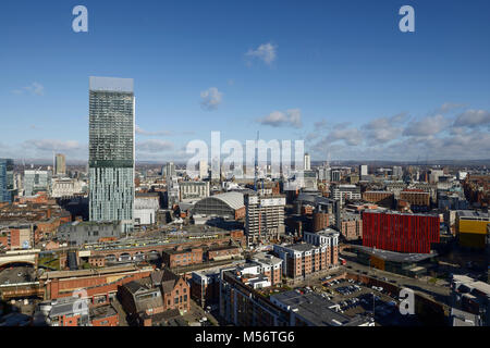 Manchester city centre skyline in sunshine including Beetham Tower, Manchester Central and Home - Stock Photo