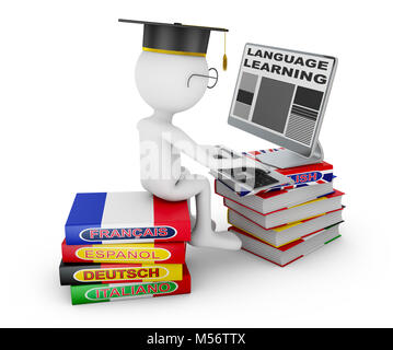 Man sitting on dictionaries studying a foreign language on a computer. 3d rendering with Clipping Path. - Stock Photo
