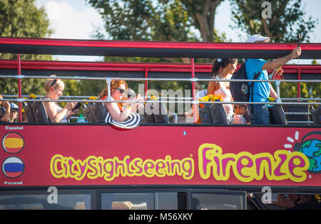 FLORENCE (FIRENZE), JULY 28, 2017 - Citysightseeing Bus Florence (Firenze), Tuscany, Italy - Stock Photo