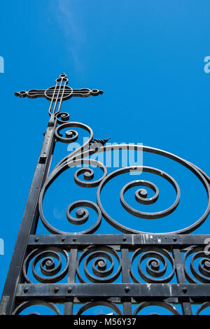 Argentina, Pampas, San Antonio de Areco. Historic church, San Antonio de Padua, circa 1730, detail of ornate wrought - Stock Photo