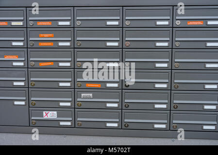 Mailboxes in an apartment building in a new building house - Stock Photo