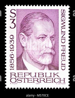 Austrian postage stamp (1981) : Sigmund Freud (born Sigismund Schlomo Freud; 1856 – 1939) was an Austrian neurologist - Stock Photo
