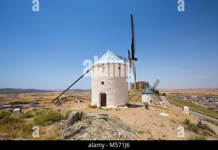 CONSUEGRA, SPAIN . JUNE 24, 2016 Group of windmills in Campo de Criptana. La Mancha, Consuegra, Don Quixote route, - Stock Photo