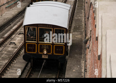 February 6th 2018 - Budapest Hungary - Picture of the Funicular taking tourists up the steep slope to the castle - Stock Photo