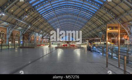 St Pancras Station Interior Dome Ceiling: London, UK - Stock Photo