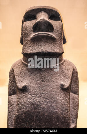 Hoa Hakananai'a - name of basalt-made human statue / sculpture (moai). Removed from Easter Island in 19th century. - Stock Photo
