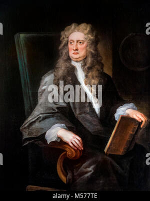 Sir Isaac Newton (1642-1727), portrait of the English physicist and mathematician by John Vanderbank, 1725 - Stock Photo