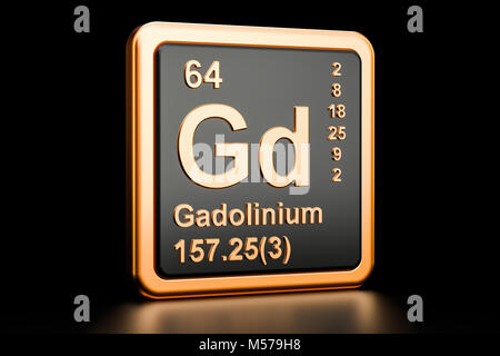 Gadolinium Gd, chemical element. 3D rendering isolated on black background - Stock Photo