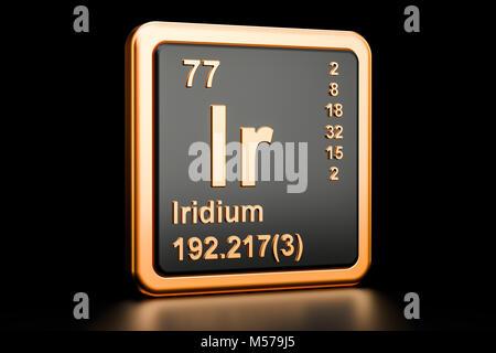 Iridium Ir, chemical element. 3D rendering isolated on black background - Stock Photo